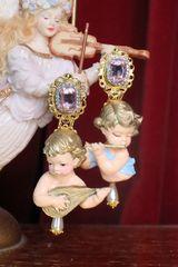 SOLD! 7308 Baroque Musical Cherubs Angels Pink rhinestone Earrings