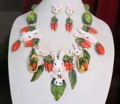 SOLD! 7309 Set Of Carrots Massive Flowers Enamel Bunny Necklace+ Earrings
