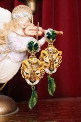 7310 Baroque Hand Painted Vivid Leopard Animal Leaf Earrings