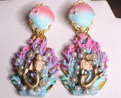 7312 Marine Nautical Faced Mermaids Coral Reef Hand Painted Earrings