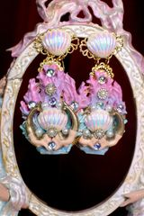 7313 Marine Nautical Shell Mermaids Coral Reef Hand Painted Earrings