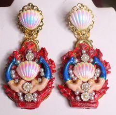 7314 Marine Nautical Mermaids Red Coral Reef Hand Painted Earrings