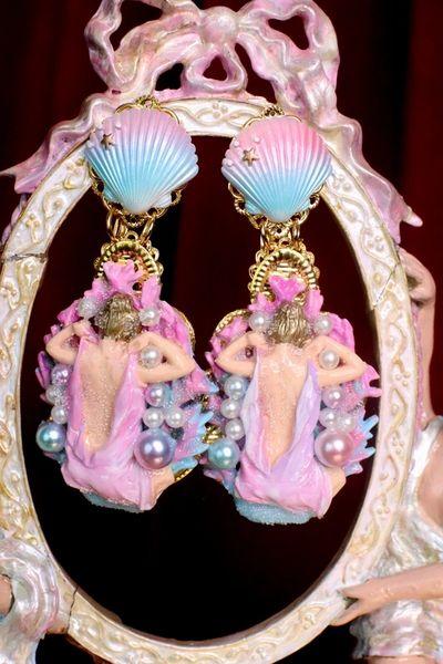 7315 Baroque Coral Reef Mermaid Lady Nautical Earrings