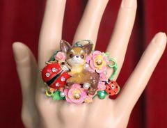 SOLD! 7317 Art Jewelry Vivid Chihuahua Ladybug Cocktail Adjustable Ring