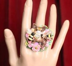 7318 Art Jewelry Vivid Chihuahua Bee Cocktail Adjustable Ring