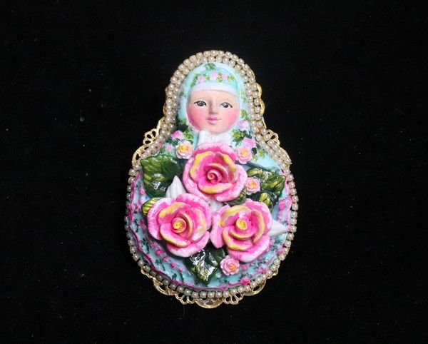 7319 Russian Doll Matryoshka Hand Painted Enamel Huge Brooch