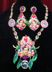 7320 Frida Kahlo Sacred Heart Hand Painted Scull Necklace