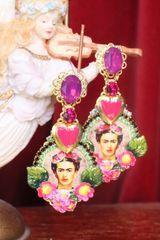 7322 Frida Kahlo Flower Fuchsia Heart Hand Painted Long Earrings