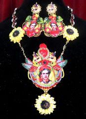 7323 Frida Kahlo Sacred Heart Hand Painted Sunflower Birds Necklace