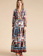 7326 Runway 2020 Baroque Print Maxi Pleated Dress