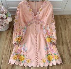 7328 High-End Runway 2020 Floral Print Linen Mini Dress