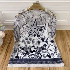7330 High-End Runway 2020 Anglaise Star Embroidery Top