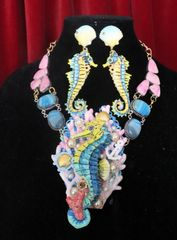 SOLD 7332 Nautical Seahorse Coral Reef Genuine Pink Thulite Agate Hand Painted Necklace