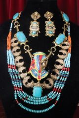 SOLD! 7333 Egyptian Revival Genuine Turquoise Necklace