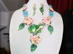SOLD! 7334 Set Of The Prince Frog Triplet Opal AdorableNecklace+ Earrings
