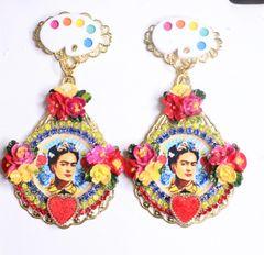 7336 Frida Kahlo Palette Fuchsia Flower Hand Painted Earrings