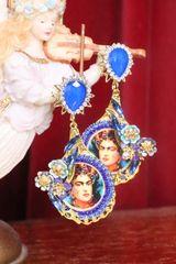 7337 Frida Kahlo Blue Rhinestone Flower Hand Painted Earrings