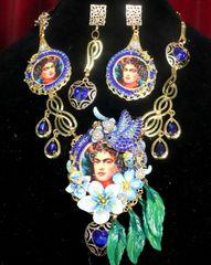 7338 Set Of Frida Kahlo Blue Bird Rhinestones Necklace+ Earrings