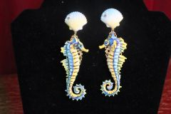 7341 3D Effect Nautical Seahorse Hand Painted Earrings