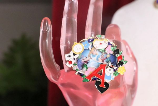 7344 A-letter Alice In Wonderland Enamel Adjustable Cocktail Huge Ring