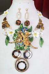 7348 Set Of Art Jewelry Vivid Tiger Cubs Hand Painted Necklace+ Earrings
