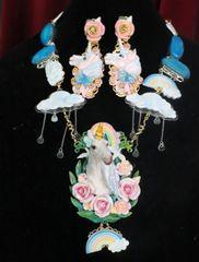 7350 Art Jewelry Vivid Unicorn Rainbow Genuine Solar Quartz Hand Painted Necklace
