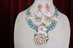 7351 Art Jewelry Vivid Unicorn Rainbow Genuine Blue Topaz Hand Painted Necklace