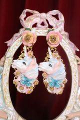 7352 Art Jewelry Unicorns Roses Hand Painted Earrings