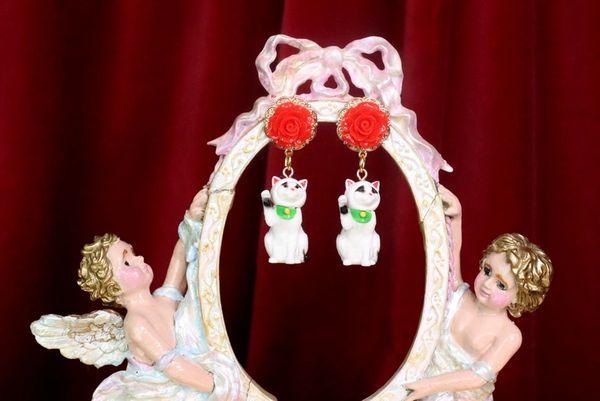 7353 Art Jewelry 3D Effect Sick Cat Roses Earrings