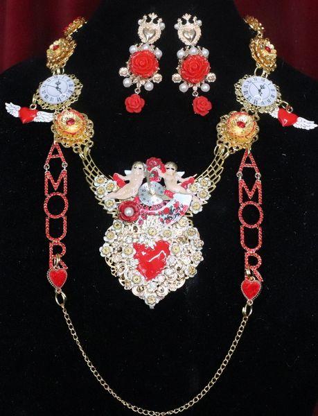 7355 Set Of Baroque Sacred Heart Cherubs Clock Necklace+ Earrings