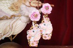 7356 Art Jewelry Unicorns Roses Hand Painted Earrings