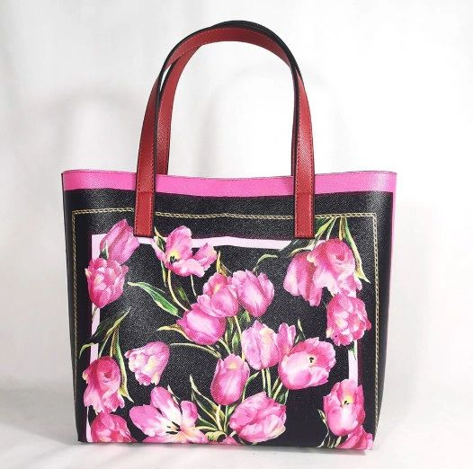 7358 Baroque Tulip Print Beach PU Handbag