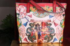 7360 Baroque Designer Inspired Asian Print Beach PU Handbag