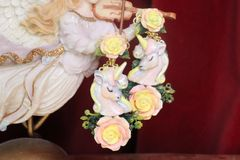 7361 Art Jewelry Faced Unicorns Roses Hand Painted Earrings