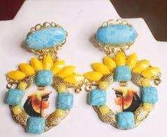 7362 Egyptian Revival Genuine Turquoise Cleopatra Earrings
