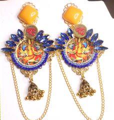 SOLD! 7363 Egyptian Revival Blue Rhinestones Pharaoh Earrings