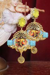 7364 Egyptian Revival Blue Rhinestones Cleopatra Yellow Rhinestone Earrings