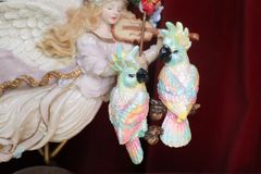 7366 Art Nouveau Vivid Hand Painted PAstel Light Weight Parrots Earrings