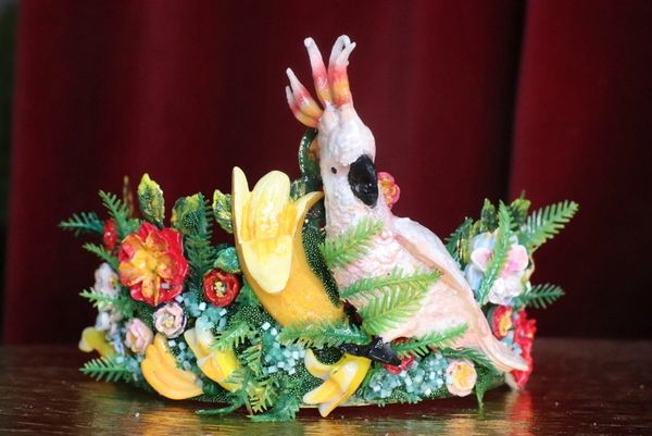 7367 Art Jewelry Tropical Parrot Bananas Hand Painted Crown