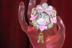 7368 Nutcracker Theme Cameo Ballerina Adjustable Cocktail Huge Ring
