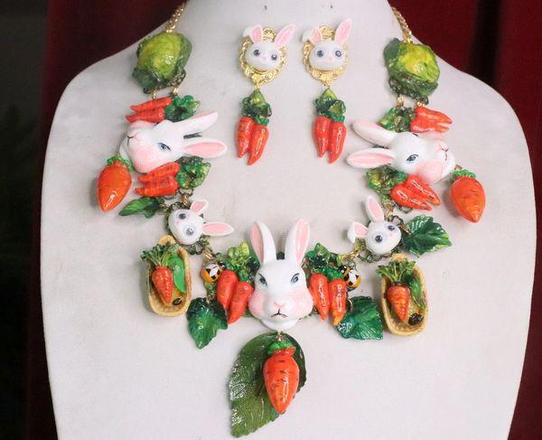 7371 Set Of Carrots Massive Flowers Enamel Bunny Necklace+ Earrings