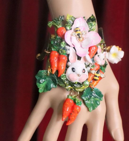 7372 Baroque Oak Vivid Enamel Bunny Carrots Hand Painted Adjustable Bracelet