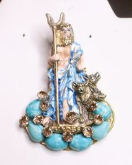 7375 Greek Revival God Hades Hand Painted Unique Brooch