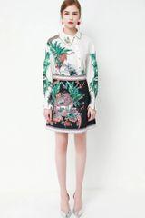7381 Runway 2020 Jungle Leopard Print Blouse+Skirt Twinset