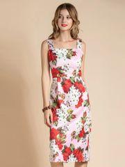 7386 Runway 2020 Floral Print Pink Midi Dress