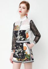 7387 Runway 2020 Floral Print Lace Blouse+Shorts Twinset