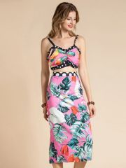 7388 Runway 2020 Tropical Print/Polka Dot Bustier +Skirt Twinset