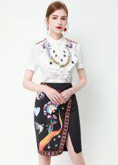 7390 Runway 2020 Novelty Print Blouse + Skirt Twinset
