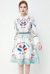 7391 Runway 2020 Paris Print White Mini Dress