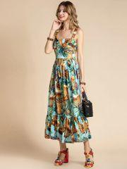 7392 Runway 2020 Tropical Print Summer Midi Dress